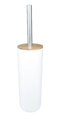 WC Borstel + houder MAXIM - Wit / Zilver - Kunststof - 40 x 9 cm - Toiletborstel