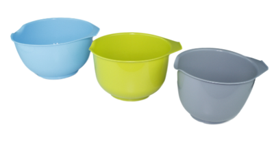 Beslagkommen set - Blauw / Groen / Grijs - Schalen - Mengkommen - 3 delig - Kunststof - 1.5L / 2L / 2.5L
