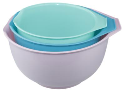 Beslagkommen set - Roze / Blauw / Turquoise - Schalen - Mengkommen - 3 delig - Kunststof - 1.5L / 2L / 2.5L