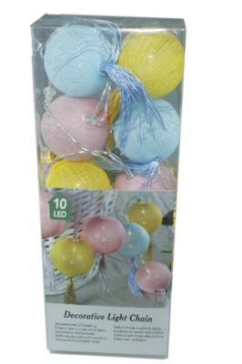 Decoratieve lichtslinger met tassels - Blauw/Geel/Roze - 10 led lampen - Ø6cm - Lichtketting