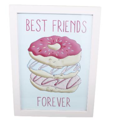 Schilderij Donuts - Best friends forever - Roze - 25x34cm
