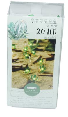 Decoratieve lichtslinger - Cactus - Groen - 20 led lampen - 2m - Lichtketting