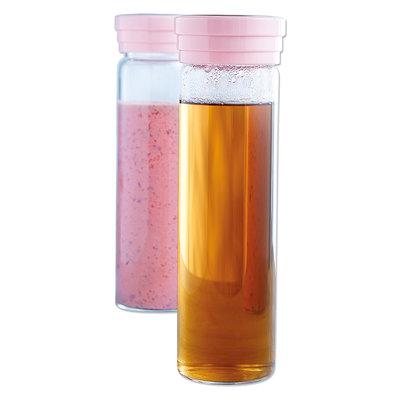 Drinkfles met deksel - 0,55 l - Roze - Glas / Kunststof