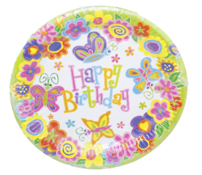 Happy Birthday wegwerpborden - Vlinder motief - Ø 23 cm - 8 stuks