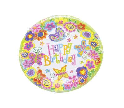 Happy Birthday wegwerpborden - Vlinder motief - Ø 18 cm - 8 stuks