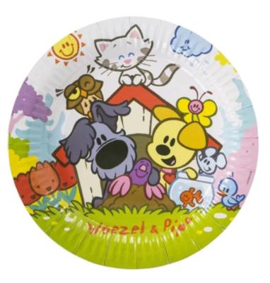 Woezel en Pip bordjes - Multicolor - 8 stuks - Ø 23 cm