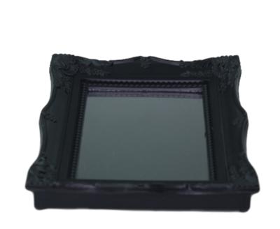 Spiegel MARLOES - Barok - tafel / make-up spiegel - Zwart - Kunststof - 14.5x19x2cm