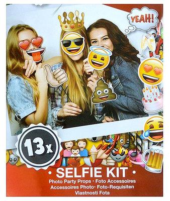 Emoji selfie kit - 13 stuks - Multicolor