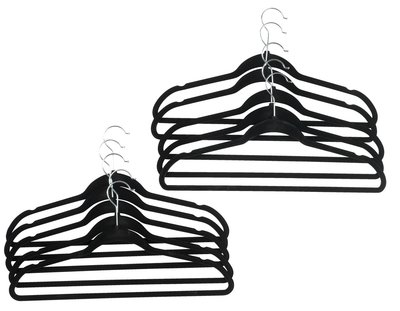 Fluwelen kledinghangers met broeklat DIVA - Zwart - Set van 10