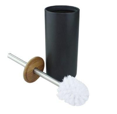 WC borstel + houder VARGAS - Zwart / Zilver - Keramiek/Bamboe - 33  x 10.5 cm - Toiletborstel