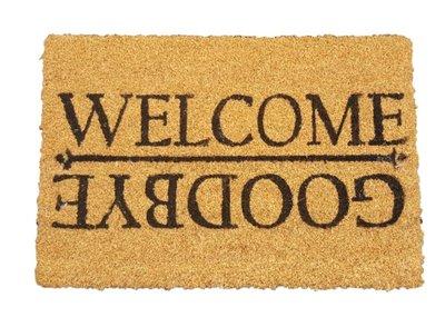 Deurmat met tekst MARGRIET - ' Welcome / Goodbye ' - Kokosmat - 40x60cm