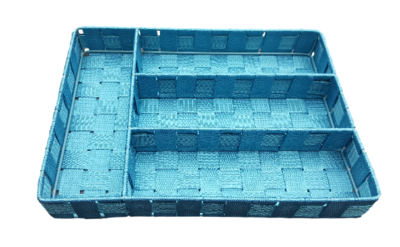 Bestekbak 4-Vaks - Geweven lint - Blauw
