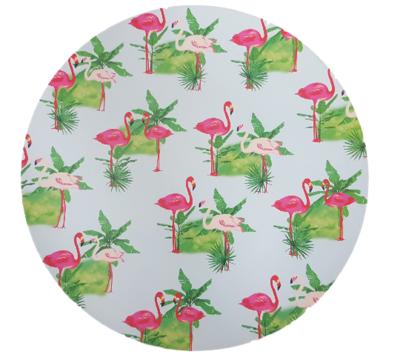 Decoratie bord met Flamingo motief - Multicolor - Ø40cm