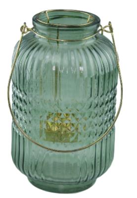 Theelicht Lantaarn met hengsel Hasse - Groen/goud - Glas