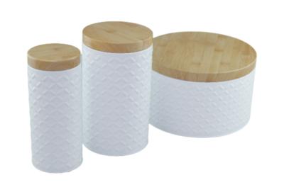 Set van 2 opbergblikken met patroon JENS - Wit - Maat S