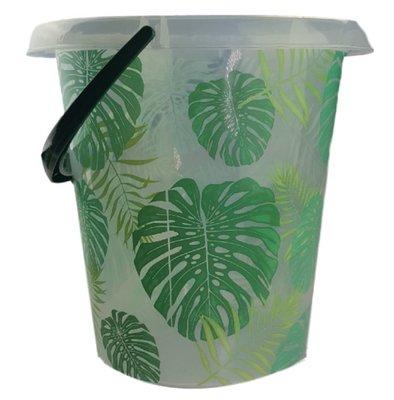 Emmer met blad motief - Groen / Transparant - 12 Liter - Ø 30 cm