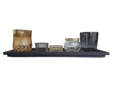 Theelichthouders op houten plateau AMY - 6 delig - Multicolor - Hout / Glas
