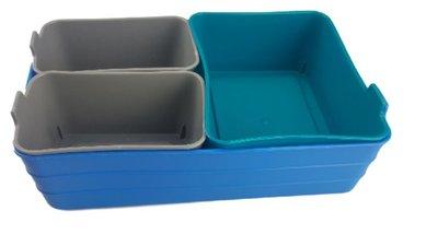 Flexibele mini opbergmandjes FERNANDO - set van 4 - Blauw/Groen/Grijs - Kunststof - Voorraadbakjes - Opbergbakjes