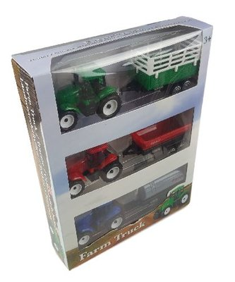 Tractor met aanhanger - Set van 3 - Multicolor - Kunststof