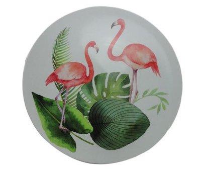 Decoratie bord met Flamingo / Blad motief - Multicolor - Ø33cm