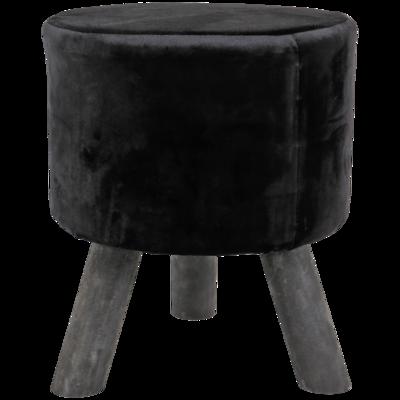 Kruk met velvet ANTONIUS - Zwart - 20x36cm