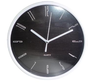 Klok met hout motief JULES - Wit/Zwart - Rond - Ø19.5 cm
