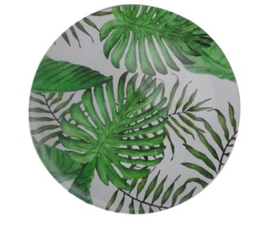 Decoratie bord met blad motief ALEXIA - Wit / Groen - Ø33cm
