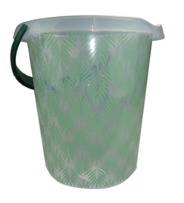 Emmer met blad motief II - Groen / Transparant - 12 Liter - Ø 30 cm