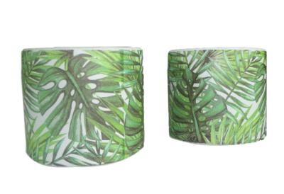 Bloempot met blad motief - Groen/Wit - Ø11.5 x h10 cm