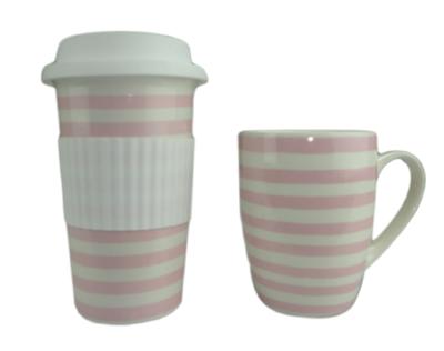 Mok met candy stripes ALETTA - Roze / Wit - Keramiek - Beker - Set van 2