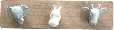 Kapstok kinderkamer dieren - Mint / Wit - Hout / Kunststof - 3 haken - 34x9x5cm