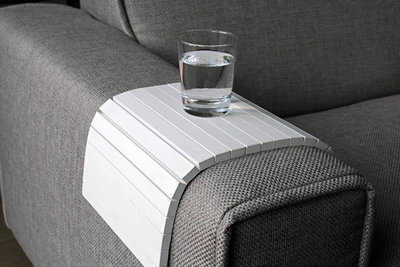 Armleuning Dienblad DEBORA - Wit - Sofa Tray - Flexibel Bank Dienblad - Banktafeltje - Sofa Dienblad