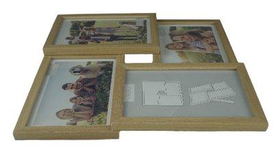 Fotoframe HAMER - Hout / Kunststof - Bruin - Collage - 4x 10x15