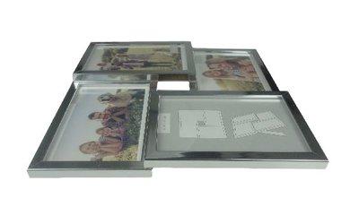 Fotoframe HAMER - Hout / Kunststof - Zilver - Collage - 4x 10x15