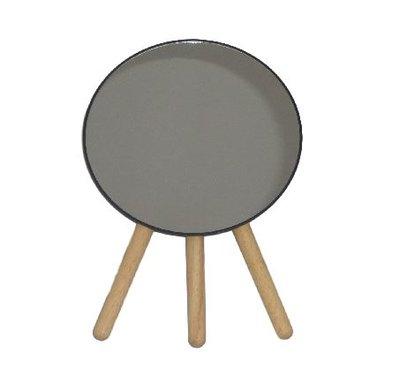 Ronde spiegel op pootjes en kunststof lijst DEMI - Zwart / Bruin - h 22.5 x Ø 16.5