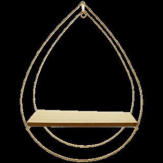 Wandrek CAROL - Druppel vorm - Goud - MDF / Metaal - 26 x 12 x 35 cm
