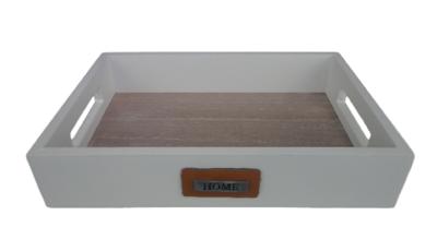 Decoratie tray/dienblad met lederen label RINSE (HOME) - Wit - Hout - 24 x 17 x 4.5 cm