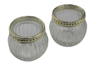 Theelichthouder ANNABEL - Set van 2 - Transparant / Goud - Glas / Kunststof - Ø 6.5 x h 5.5 cm