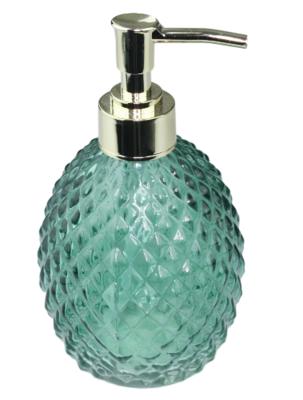 Luxe zeepdispenser met gestructureerd patroon - Groen / Goud - Glas - Ø8 x H16cm