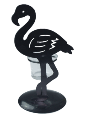 Flamingo theelichthouder LARD - Zwart - Metaal / Glas - 11 x 10 x 20 cm
