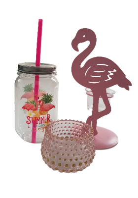 Flamingo theelichthouder LARD - Roze - Metaal / Glas - 11 x 10 x 20 cm