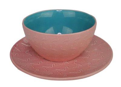 Bord Flamingo - Roze - Keramiek - Ø 21,5 cm - Set van 2