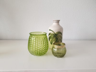 Theelichthouder ANNE - Set van 2 - Groen / Goud - Glas / Kunststof - Ø 6.5 x h 5.5 cm