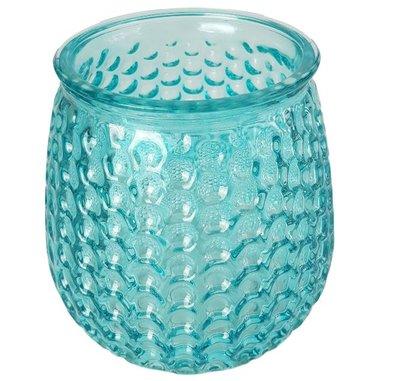Theelichthouder EVELIEN - Blauw - Glas - Ø8 x h10 cm