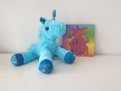 Knuffel Unicorn - Blauw - 22 x 7 x 26 cm