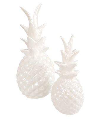 Deco ananas AREND - Wit - Ø12 x H 28 cm