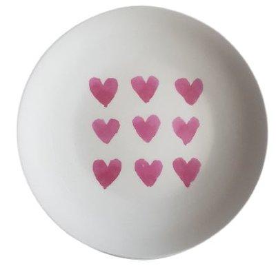 Decoratieve wandbord Nine Hearts - Wit / Rood - Keramiek - Ø22 cm