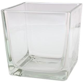 Vaas / Accubak BEERTJE - Transparant - Glas - 14 x 14 x 14 cm - Maat L