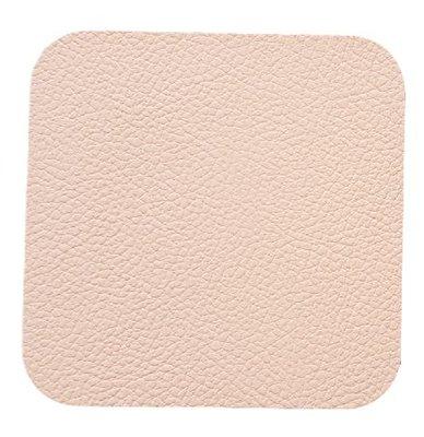 Dubbelzijdige luxe onderzetter OSWIN - Roze / Grijs - Leder - vierkant - 10 x 10 cm - Set van 6