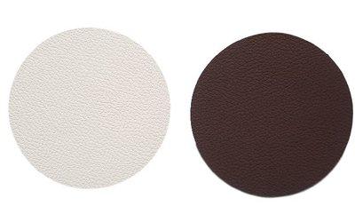 Dubbelzijdige luxe onderzetter NAUD - Wit / Donkerbruin - Leder - Rond - Ø10 cm - Set van 6